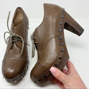 Cynthia Vincent Wooden Leather Studded Clogs